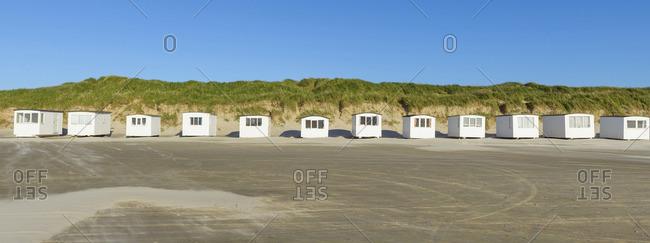Beach Huts, in Summer, Blokhus, Jammerbugt Municipality, North Jutland, Denmark