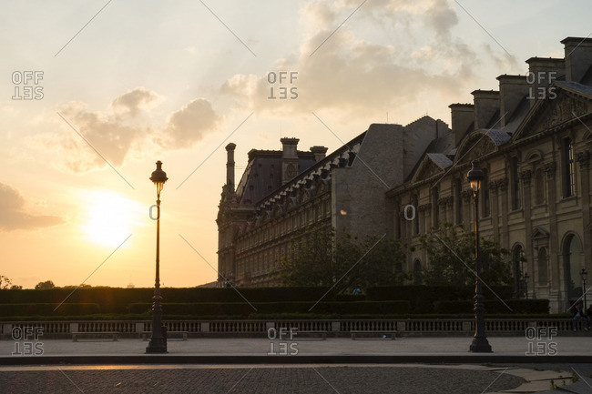 Louvre Architecture at Sunset, Paris, France