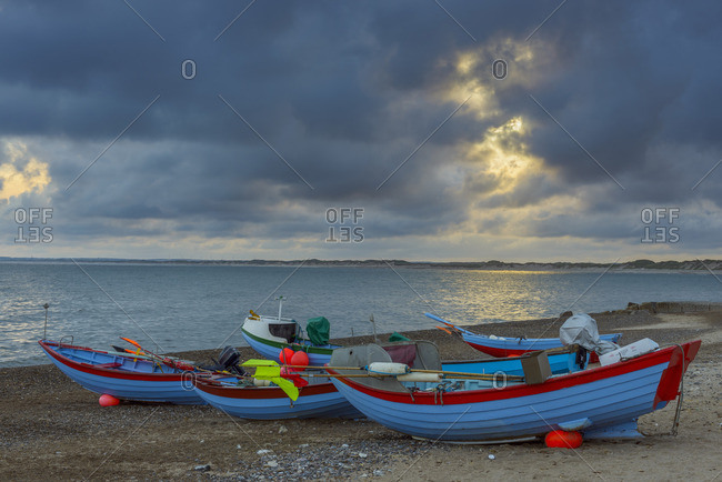 Colorful Fishing Boats on Beach, Klitmoller, North Jutland, Denmark