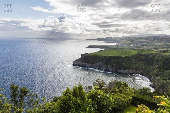 View along Steep Coast from Miradouro de Santa Iria, Porto Formoso, Sao Miguel Island, Azores, Portugal