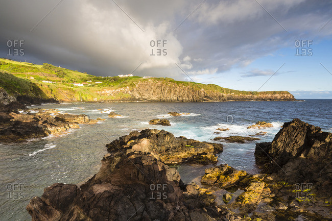 Natural Pools for Swimming and Rocky Lava Coast at Sunrise, Quatro Ribeiras, Praia da Vitoria, Terceira Island, Azores, Portugal