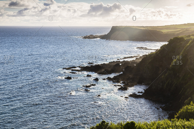 Steep Lava Coast against Light in Early Morning, Quatro Ribeiras, Praia da Vitoria, Terceira Island, Azores, Portugal
