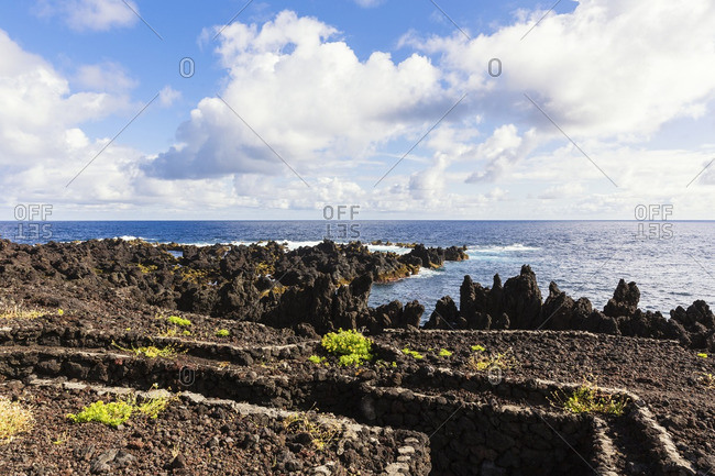 Military Base built near Rocky Lava Coast of Atlantic Ocean, Biscoitos, Praia da Vitoria, Terceira Island, Azores, Portugal