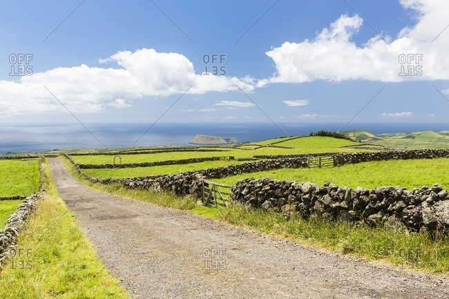 Rural Unpaved Road with Lava Stone Walls through Agricultural Landscape, Terceira Island, Azores, Portugal