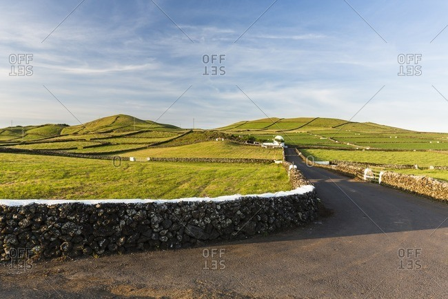 Rural Road through Agricultural Landscape with Volcanic Craters, Serra da Ribeirinha, Terceira Island, Azores, Portugal
