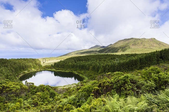 Lagoa Seca in front of Volcano Hill, Lajes do Pico, Pico Island, Azores, Portugal