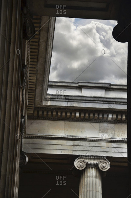 Low Angle View of Columns at British Museum, London, England, UK