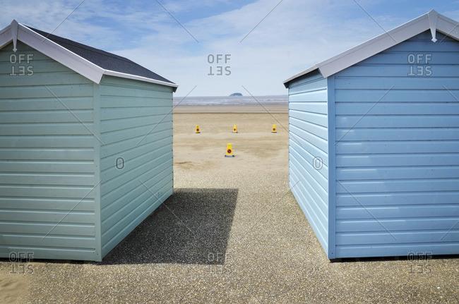 View of Beach Huts, Weston Super Mare, Somerset, England, UK
