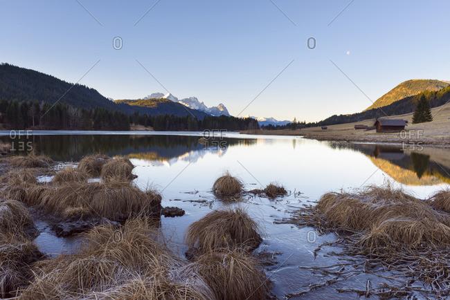 Landscape Reflected in Geroldsee in Morning, Gerold, Krun, Upper Bavaria, Bavaria, Germany