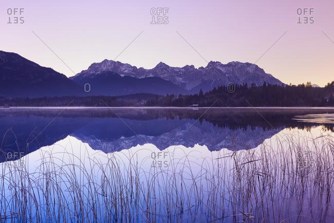 Karwendel Mountains Reflected in Lake Barmsee, Krun, Upper Bavaria, Bavaria, Germany