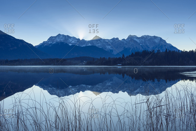 Karwendel Mountains Reflected in Lake Barmsee, Krun, Upper Bavaria, Bavaria, Germany