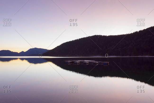 Mountain Landscape Reflected in Lake Walchensee at Dawn, Kochel am See, Upper Bavaria, Bavaria, Germany
