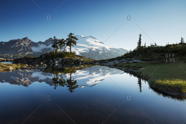 Scenic view of mountain's reflection in lake against clear blue sky