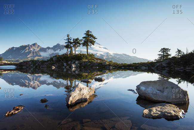 Scenic view of mountain's reflection in lake against clear sky