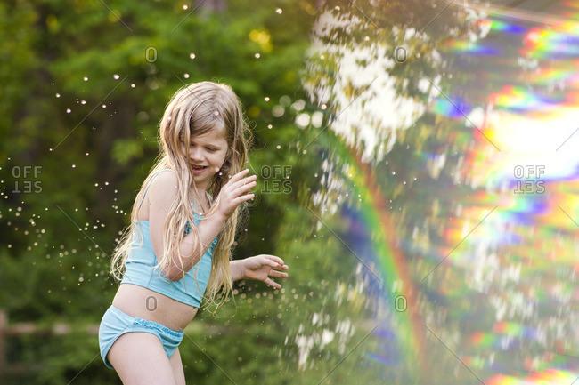 Playful girl at backyard