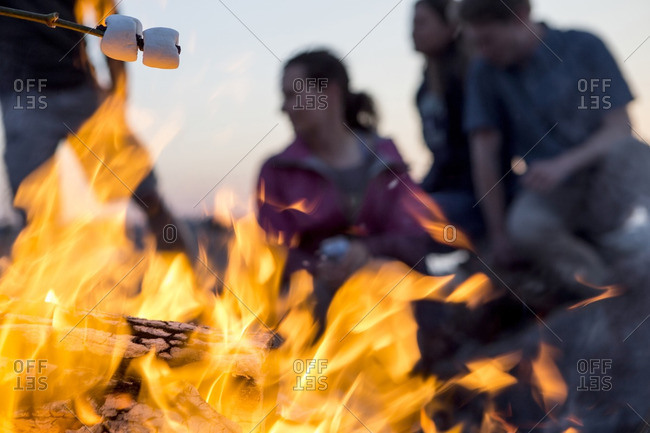 Close-up of campfire against fiends camping at dusk