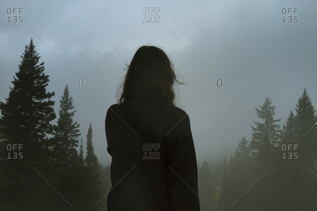 A a woman facing into a foggy forrest