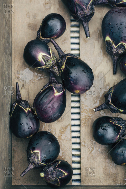 Crate filled with Japanese eggplant