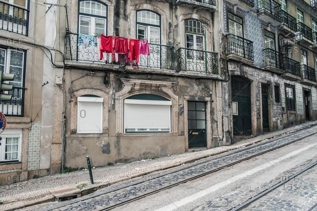 Lisbon, Portugal - April 15, 2014: View of Alfama Street in Lisbon, Portugal
