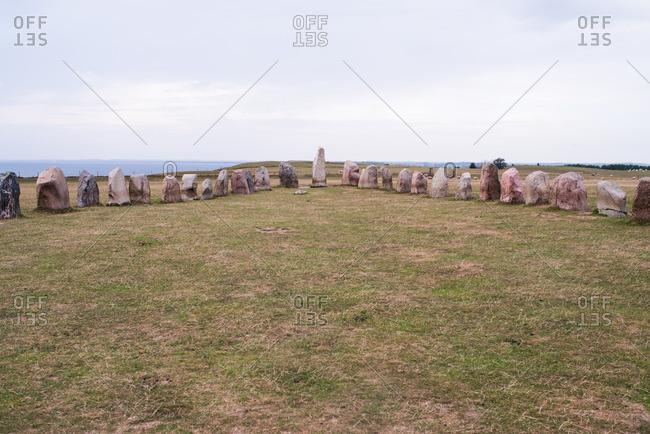 Ale's Stones, an arrangement of ancient boulders, in Scandia, Sweden