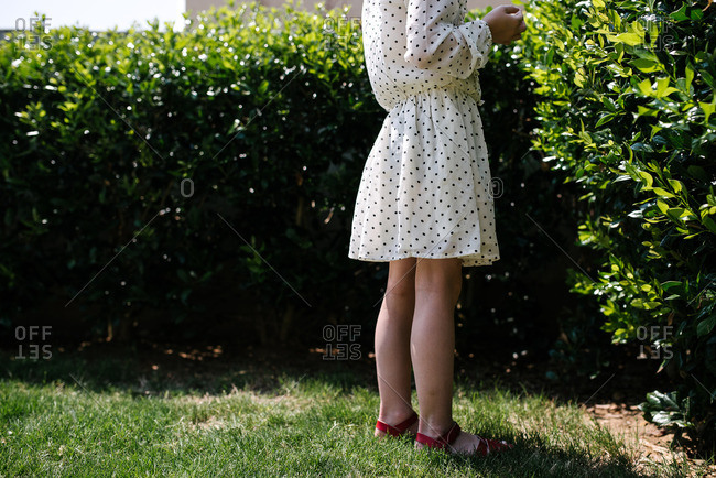 Girl in dotted dress standing near hedges
