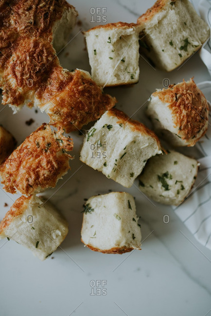 Close up of cheesy bread bites