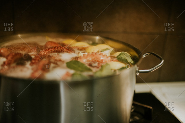 Octopus, lemon and herbs boiling in a pot of water