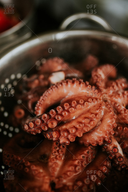 Octopus cooking in a pot of water
