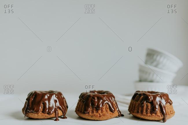Three chocolate filled desserts