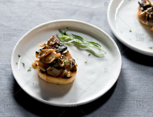 Mushroom bruschetta served on white plate