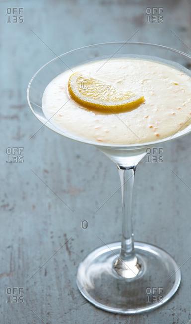 Lemon dessert served in martini glass