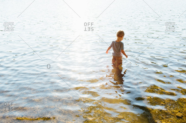 Boy wading in the water near the lakeshore