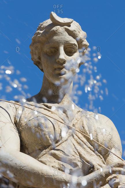 Fountain of Diana on the tiny island of Ortygia, Syracuse, Sicily, Italy, Europe