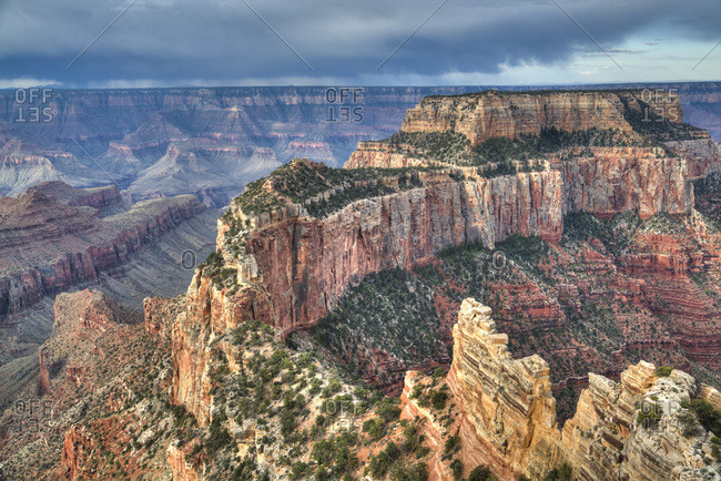Afternoon thunder shower, from Cape Royal Point, North Rim, Grand Canyon National Park, UNESCO World Heritage Site, Arizona, United States of America, North America