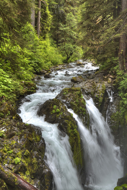 Sol Duc Falls, Olympic National Park, UNESCO World Heritage Site, Washington, United States of America, North America