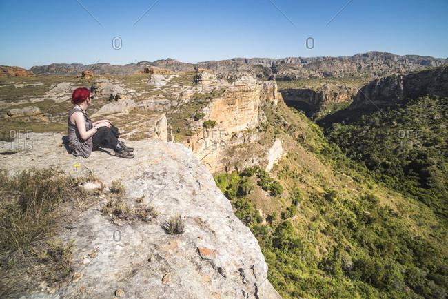 Tourist in Isalo National Park, Ihorombe Region, Southwest Madagascar, Africa