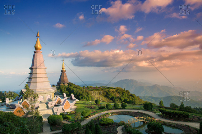 Temples at Doi Inthanon, the highest peak in Thailand, Chiang Mai Province, Thailand, Southeast Asia, Asia