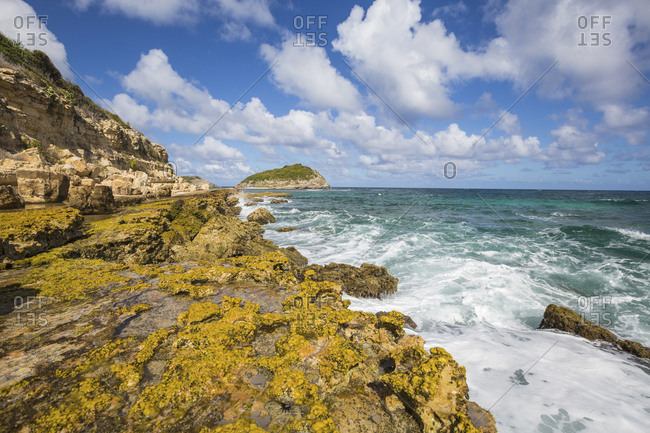 The waves of the Caribbean Sea crashing on the cliffs, Half Moon Bay, Antigua and Barbuda, Leeward Islands, West Indies, Caribbean, Central America