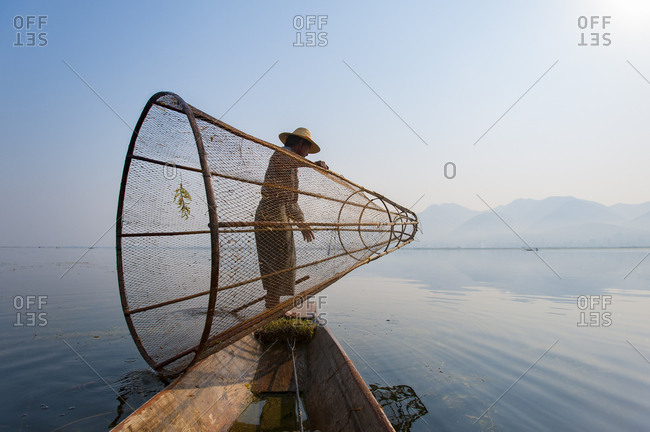 April 5, 2010: A basket fisherman on Inle Lake prepares to plunge his cone shaped net, Shan State, Myanmar (Burma), Asia
