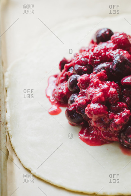 Berry galette being prepared