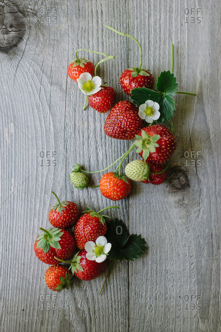 Strawberries on a wood table