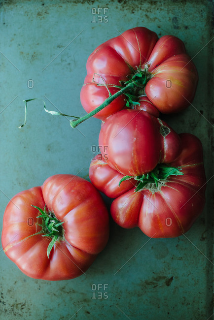 Overhead view of heirloom tomatoes on a table