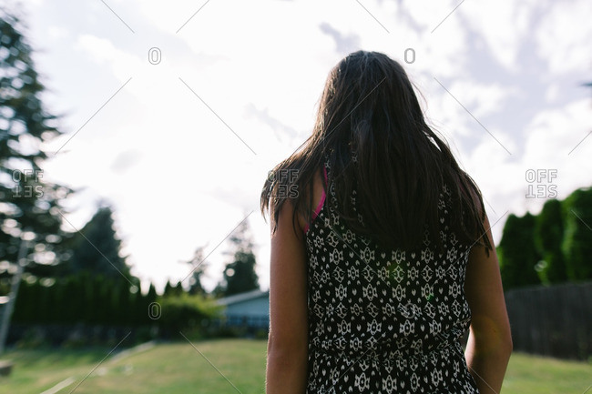Portrait of a girl standing outside