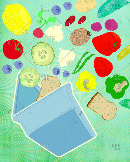 Lunch box with fruits and vegetable pouring out