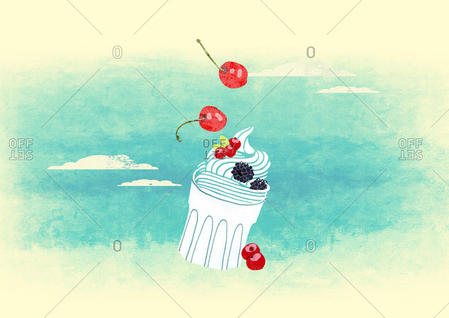 Cup of frozen yogurt with berries floating in a sky