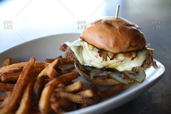 Platter with a gourmet burger and French fries