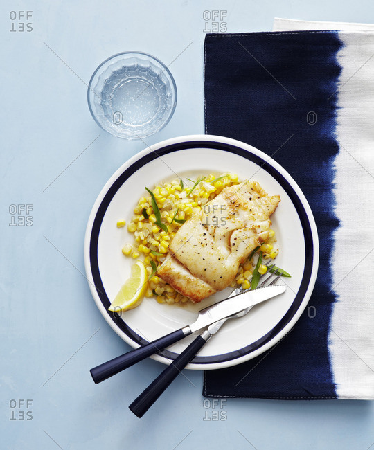 Baked cod and corn