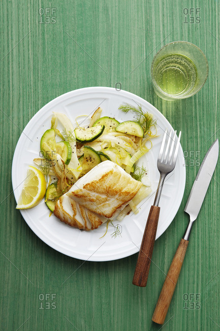 Pan fried cod and zucchini