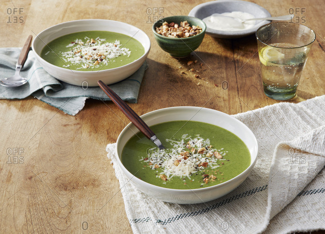 Spinach soup on table