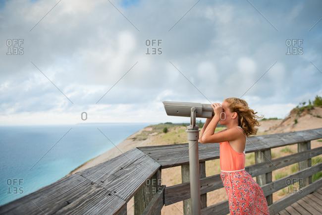 Girl on lake overlook